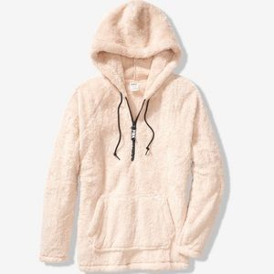 PINK VS hooded teddy pullover in cream